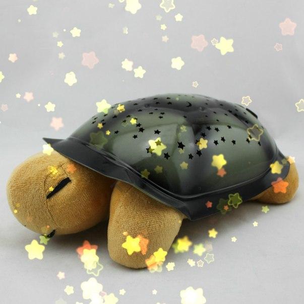 Черепаха ночник проектор «Звездное небо» с музыкой (коричневый)