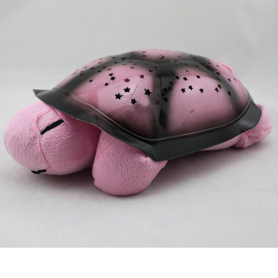 Черепаха ночник проектор «Звездное небо» с музыкой (розовый)